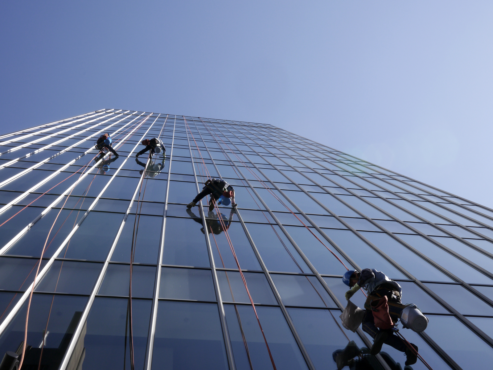 Cleaning windows on the side of a high rise building